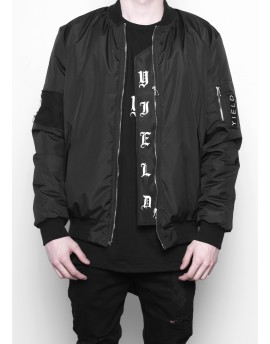 BLACK PATCHED GOTHIC MA-1 BOMBER JACKET