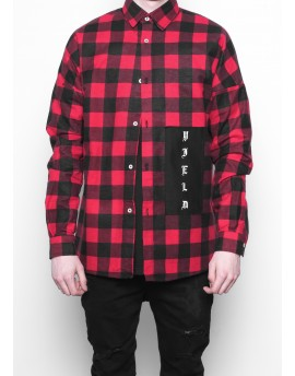 OVERSIZED 'YIELD' GOTHIC RED FLANNEL SHIRT